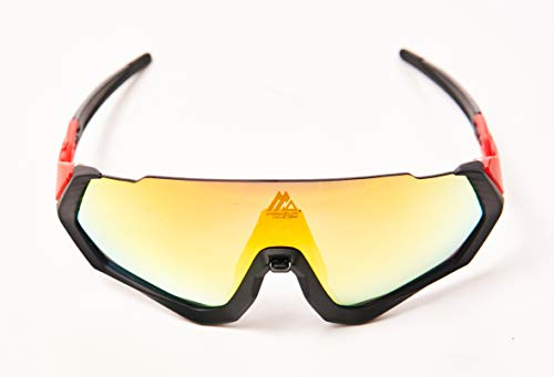 Gafas de sol deportivas. CE Certificación. Fotocromáticas, polarizadas, protección UV 400. Lentes intercambiables. Puente nasal ajustable. Material TR90 flexible e irrompible. (Rojo)