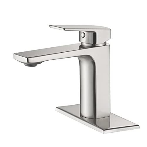 Grifo de lavabo de baño de níquel cepillado grifo de baño grifo de una sola manija para lavabo de baño, Rv Lavatory Vessel Grifo mezclador de lavabo con placa de cubierta
