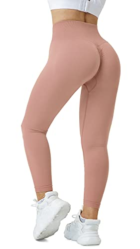 Fulbelle Yoga Pants for Women Butt Lifting,Athletic Anti Cellulite Tummy Control Yogalicious Leggings Fitness Shaping Skinny Push up Fashion Sexy Fitness Gym Tights Light Red S