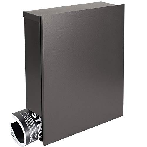 MOCAVI Box 111 Design-Briefkasten mit Zeitungsrolle Made in Germany edel grau eisenglimmer (DB 703) Postkasten modern inklusive Montagematerial und Schlüssel