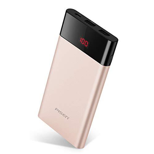 PISEN ColorPower PRO Portable Power Bank 10000mAh (Oro) Caricabatterie Portatile Portatile, Batteria Esterna, uscite USB 2, puoi Risparmiare Tempo, Utilizzare telefoni cellulari,