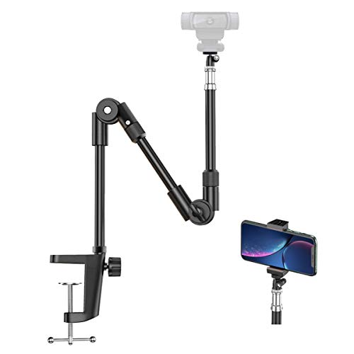 Webcam Stand Camera Mount with Phone Holder, KDD 25 Inch Foldable Flexible Gooseneck Cell Phone Clamp & Table Projector Mount, for Logitech C922 C930e C920S C920 C615 C960 Brio 4K, Gopro Hero 8 7 6 5