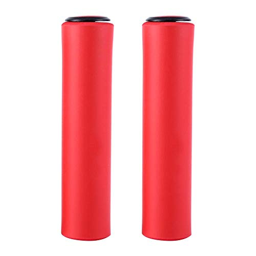 自転車用グリップ 18 mm バイクハンドルカバー 超軽量 衝撃吸収 取り付け簡単(赤)