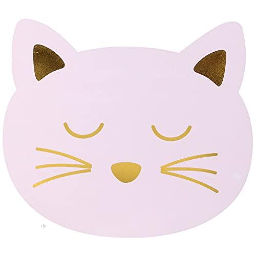 Juego de 2 manteles individuales para niños, diseño de gato rosa