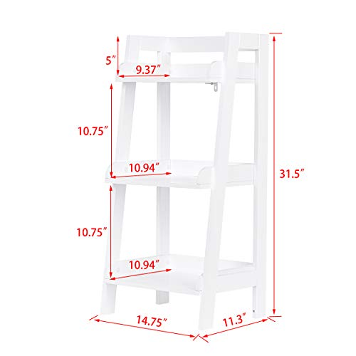 UTEX 3-Tier Ladder Shelf, Bathroom Shelf Freestanding, 3-Shelf Spacesaver Open Wood Shelving Unit, Ladder Shelf (White)