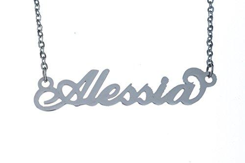 Collana con nome Alessia in acciaio con catenina sottile a ovali regolabile
