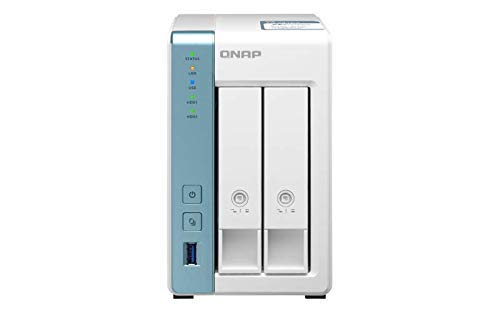 QNAP TS-231P3-2G 2 Bay Desktop NAS Gehäuse - Netzwerkspeicher mit 2.5GbE Konnektivität, 2GB RAM, Quad-Core 1.7GHz Prozessor - mit funktionsreichen Anwendungen für Heim & Büro