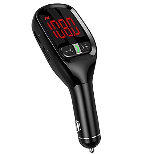CNmuca Tela grande digital para carro sem fio MP3 player kit viva-voz para carro Transmissor FM Adaptador de carregador USB MP3 player preto