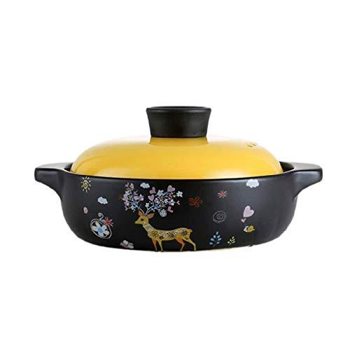 SCRFF Cartoon Motif de Girafe Casserole en céramique Pot feu à Haute température marmite à Soupe Pot santé avec Couvercle Jaune résistant à la Chaleur