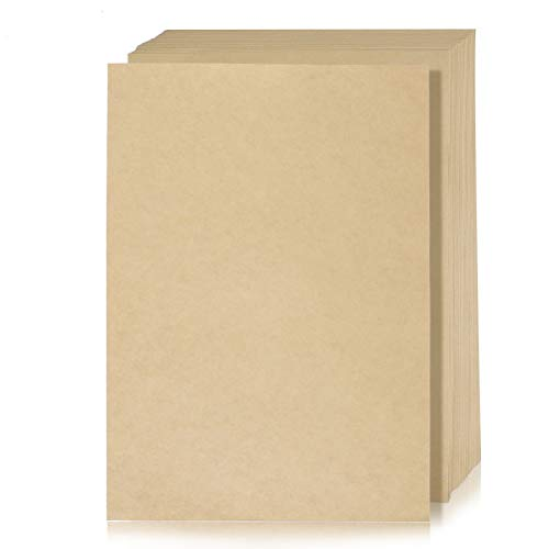 WOWOSS 50 Pezzi Carta Kraft A4, 150g Cartoncino Kraft, Fogli di Carta Kraft A4 per Stampante e DIY Artigianale