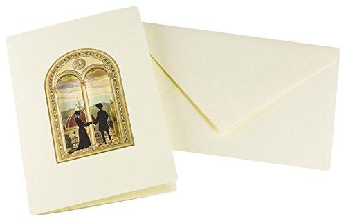 Il Papiro Firenze Doppelkarte mit Silhouetten in einem Fenster, die die Kathedrale von Florenz überblicken