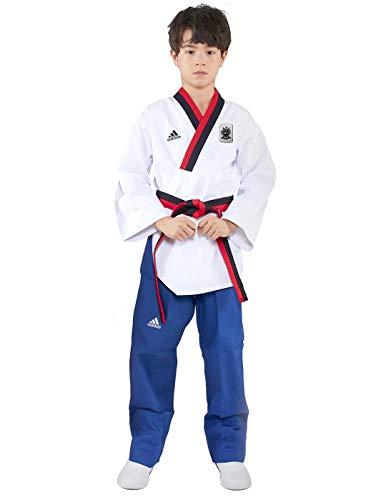 adidas Poomsae Taekwondoanzug Jungs Weiß/Licht Blau-150cm