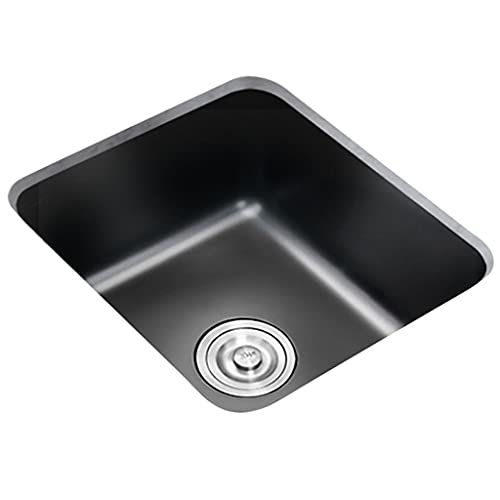 Fregadero negro fregadero de cocina de encimera de un tazón fregadero de lavado de cocina con kit de instalación empotrable o empotrado (Color : Black, Size : 40×38cm)