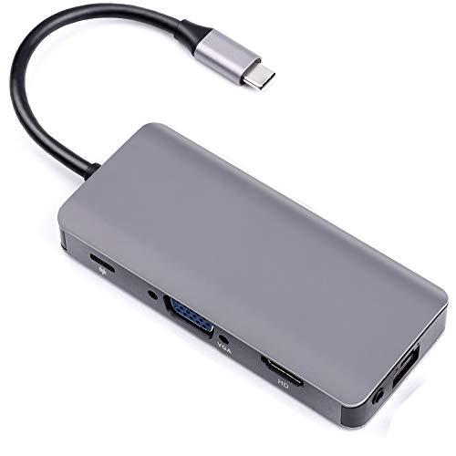 USB C Hub, USB Type-C, 2 USB3.0, VGA, HDMI, RG45 Gigabit Ethernet Port, SD/TF Card Slot, 3.5mm Audio, Docking Station for Notebook PC, Laptop, USB Flash Drives
