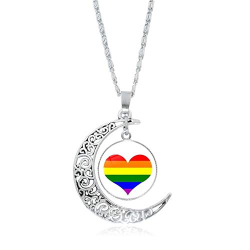 Gay Lesbian LGBT Gifts for Women Rainbow Pride Bisexual Transgender Pendant Necklace for Men Perfect Birthday Christmas Anniversary Valentines Gifts