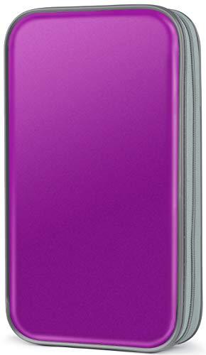 CD Case,COOFIT 80 Capacity DVD Storage DVD Case VCD Wallets Storage Organizer Flexible Plastic Protective DVD Storage Purple