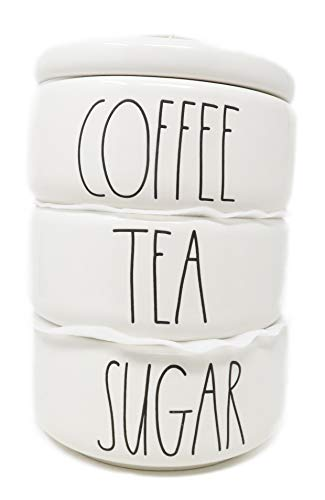 Rae Dunn By Magenta 4 Piece COFFEE / TEA / SUGAR Ceramic LL Stacking Canister Set