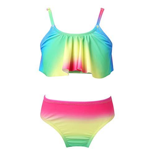 iiniim Traje de Baño para Niña Bañador Bikini con Volantes Ropa de Baño Playa Natacion Dos Piezas 6-14 Años Verde 8 años