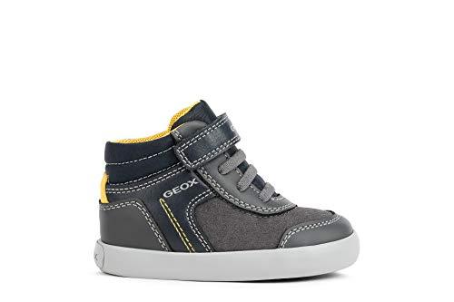 Geox Kinderschuh-Sneaker aus grauem Leder mit hohem Kragen B041NB-054AU-C0070