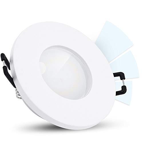 linovum ISAWO Badleuchte Einbau LED IP65 Dimmen ohne Dimmer fourSTEP - LED GU10 5W neutralweiß 230V - Bad Downlight weiß rund