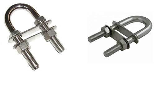 2 Stück U Bolzen 12mm x 85mm Edelstahl V4A AISI 316 Inox mit zwei Gegenplatten [2 Stück] Marwotec® U-Bolzen U-Schrauben