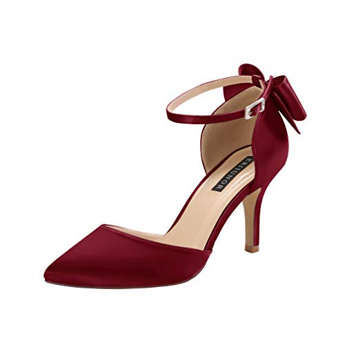 ERIJUNOR E1876B Wedding Evening Party Shoes Comfortable Mid Heels Pumps with Bow Knot Ankle Strap Wide Width Satin Shoes Burgundy Size 8