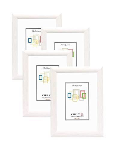 Chely Intermarket, Marcos de Fotos 20x30cm (Blanco) (Pack 4 uds) MOD-257, Hecho Madera sólida, con Acabado Elegante | Marcos para títulos y certificados (257-20x30*4-0,55)