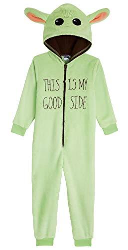 Star Wars Pijama Niño de Una Pieza, Baby Yoda Pijamas Niños Enteros, Pijama Niño Invierno de Forro Polar, Regalos para Niños y Adolescentes Edad 4-14 Años (Verde, 11-12 Años)