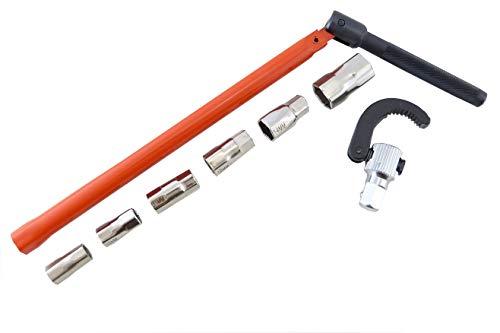 Standhahnschlüssel, Standhahnmutterschlüssel 13 mm mit Einsätzen 9-17 mm & Klaue