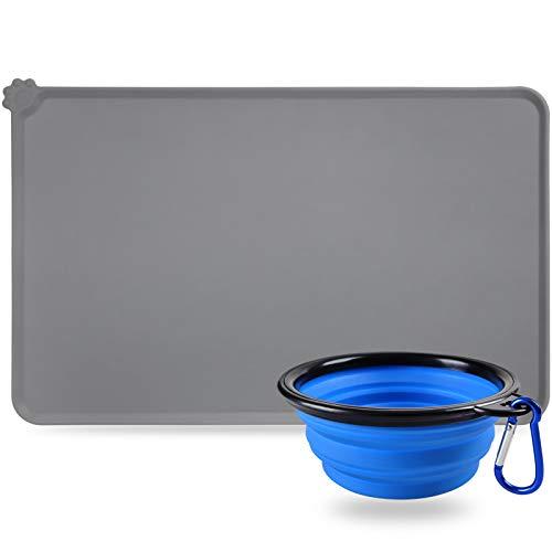 Simpeak Tappetini Sottociotola per Cani Gatto, 47x 30CM Silicone Impermeabile Tappetini sottociotola per Cane Grigio Con Antiscivolo Ciotole Pieghevole Blu