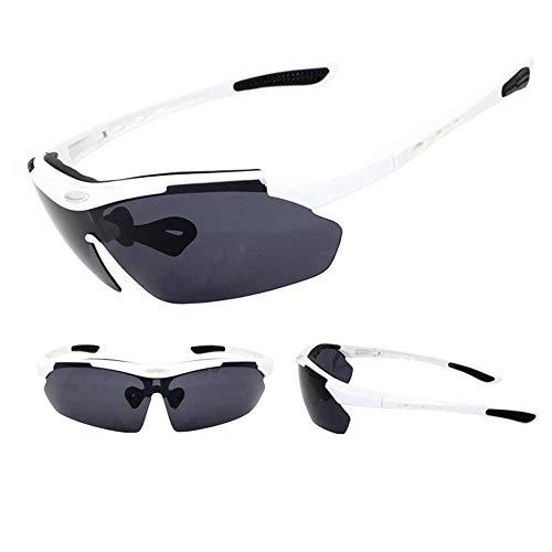 WOXING para Los Hombres Mujer Gafas,Ciclismo Deportivas Gafas,Polarizadas Antideslumbrantes Vintage Gafas De Sol,Moda Ligeras 5 Lentes Gafas-Blanco 15.6x4.4cm(6x2inch)
