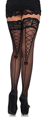 Leg Avenue Medias de mujer con cordones de corsé tejidos y encaje negro talla única