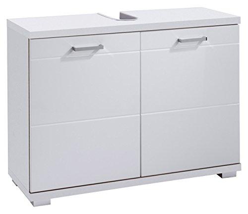 HOMEXPERTS Waschbeckenunterschrank NUSA / Waschtisch Unterschrank stehend, in Hochglanz Weiß lackiert / 2-türig, 80 x 31,5 x 59cm (BxTxH) / Badschrank für Ihr Badezimmer in Weiß