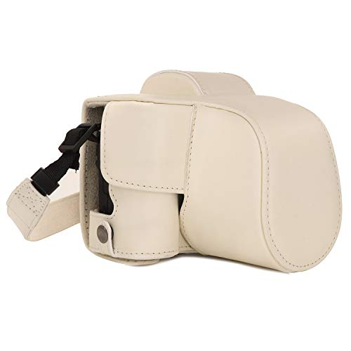 MegaGear Ever Ready - Funda para Canon EOS M50 (15-45 mm, de Cuero, con Correa) Color Blanco