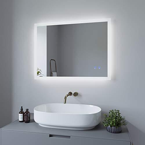 AQUABATOS 80x60 cm Badspiegel mit Beleuchtung Badezimmerspiegel Lichtspiegel LED Wandspiegel Energiesparend. Touch-Schalter Dimmbar + Kaltweiß 6400K + Warmweiß 3000K + Spiegelheizung + IP44 + CE