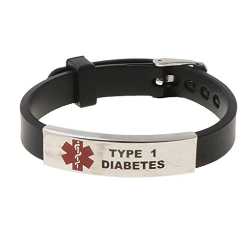 VVXXMO Medizinisches Notfallarmband für Erste Hilfe, verstellbar, Typ 1 Diabetes, Silikon, Rot