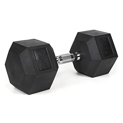 #DoYourFitness Hexagon-Hanteln 7,5 kg Kurzhantel - verchromte Griffe, gummierte & rutschsichere Dumbbells - Studio Hexbell schwarz - Stück