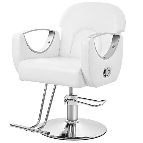 Poltrona da Barbiere (50-60 cm) Schienale regolabile Poltrona da Parrucchiere con Pompa Idraulica Sedia da Barbiere Bianca Salon Chair PU Pelle Barbiere Salone di Bellezza Altezza Seduta Regolabile