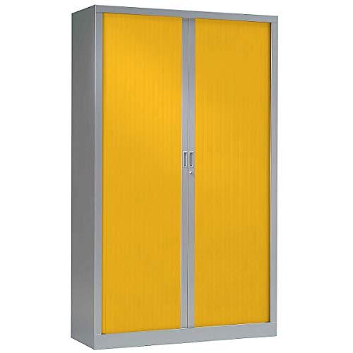 Armoire Monobloc à rideaux | Aluminium | Jaune | HxLxP 1980 x 1200 x 430 | Certeo