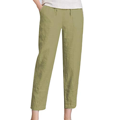 Puimentiua Womens Drawstring Cotton Linen Pants Loose Leisure Elastic Waist Solid Color Pants Trousers with Pockets. Light Green