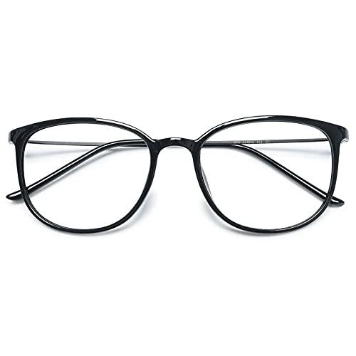 KOOSUFA Klassische Retro Nerdbrille Damen Herren Brille Ohne Sehstärke Brillengestelle Rund Pantobrille Brillenfassung Fake Brille Vintage mit Etui (Helles Schwarz)