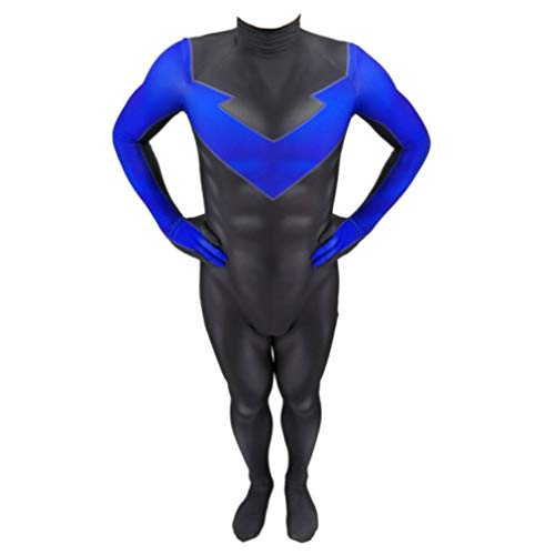 Prestaties Nightwing Cosplay Costume Volwassen Kinderen Kids Zwart En Blauw Superhero Suit Tights Bodysuit Fancy Dress Prom Party Set SPIDERSYBB
