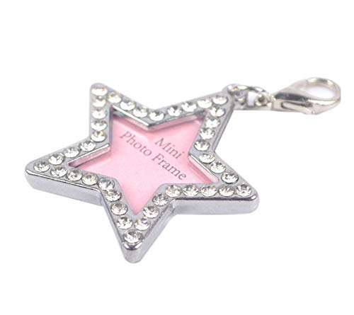 PANDA SUPERSTORE Pet Star Shape Rhinestone Writable Name Telphone ID Tags for Dogs Cats