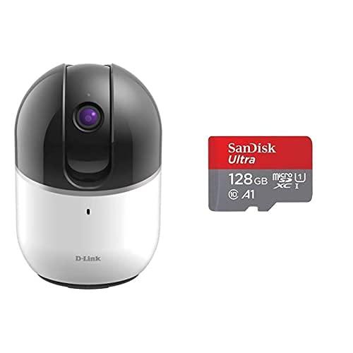 D-Link DCS-8515LH - Cámara WiFi HD con Motor, 720p, Infrarrojos, Compatible Alexa, Google Home e IFTTT+SanDisk Ultra Tarjeta de Memoria microSDXC con Adaptador SD