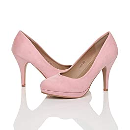 Ajvani Womens Ladies high mid Heel Smart Work Evening Party Wedding Bridal Platform Court Shoes Pumps Size