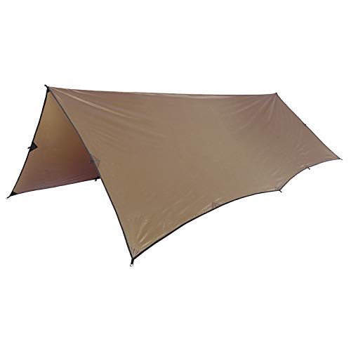 OneTigris Wasserdicht Leichte Ripstop Tarp/Sonnensegel für Camping Wandern Kompakt Vielseitig Durable Backpacking Persenning- Gr. 10ft * 13ft (3m * 4m), Braun