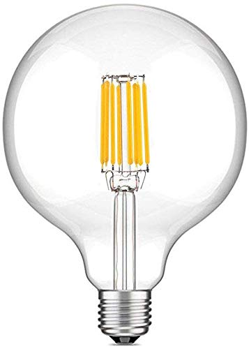 Bonlux 10W G125 E27 125mm LED Filamento Edison Globo Retro Bombilla de Luz Natural 4000K, 1000 Lúmenes, Reemplazo de 100W Hálogena Bombilla (No Regulable)