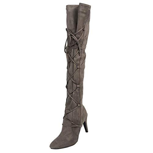 Overknee Stiefel Damen High Heels Vintage Winterstiefel Wildleder Langscaftstiefel mit Reissverschluss und Schnürung, Frauen Lang Boots Elegante Schuhe Winter Warm Damenschuhe Celucke (Grau, 40 EU)