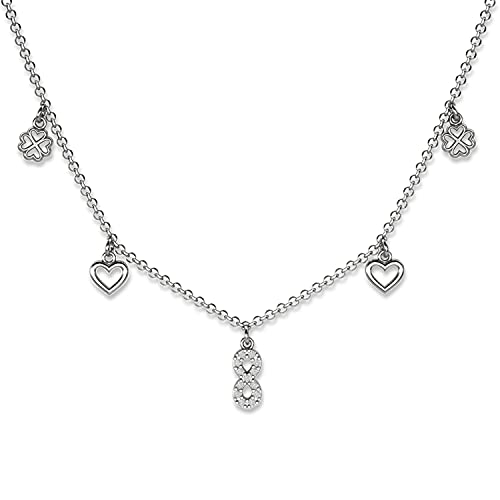 Lilly Marie damas Plata de ley 925 colgante chapado en rodio 'amor eterno en suerte' amuleto de la suerte Longitud-ajustable Embalaje ecológico Pequeños regalos para mujeres