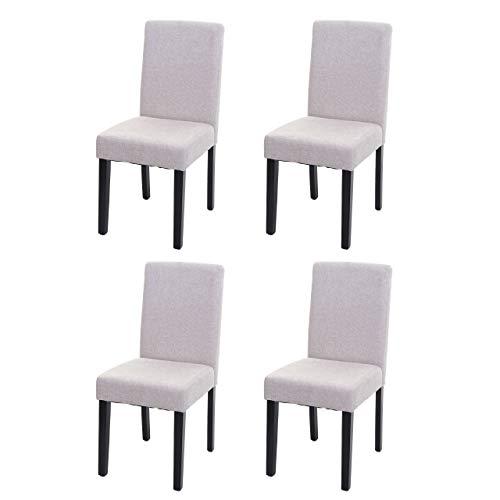 Mendler Set 4X sedie Littau Tessuto per Sala da Pranzo 43x56x90cm Avorio Beige Piedi Scuri